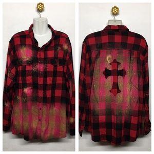 Plaid Bleached Button Down Shirt